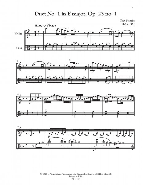 6 Duets, Op. 23 no. 1-6 for Violin and Viola
