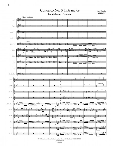 Concerto No. 3 in A major Viola and Orchestra (score/parts)