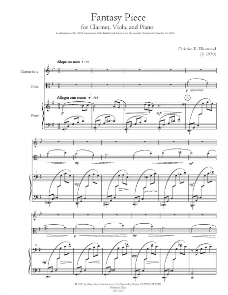 Fantasy Piece (2003) for Clarinet, Viola, and Piano