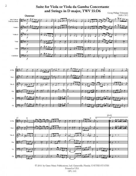 Suite in D major, TWV 55:D6 for Viola or Viola da Gamba Concertante and Strings (score/parts)