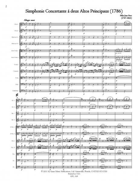 Simphonie Concertante (1786) for 2 Violas and Orchestra (score/parts)