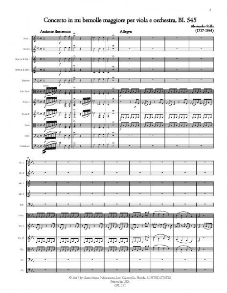 Concerto in mi bemolle maggiore, BI. 545 Viola e Orchestra (score/parts)