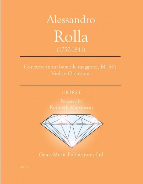 Concerto in mi bemolle maggiore, BI. 547 Viola e Orchestra (score/parts)