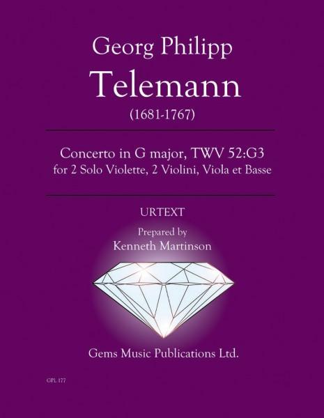 Concerto in G major, TWV 52:G3 for 2 Solo Violette, 2 Violini, Viola et Basse (score/parts)