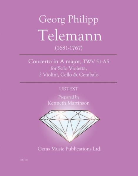 Concerto in A major, TWV 51:A5 for Solo Violetta, 2 Violini, Cello & Cembalo (score/parts)