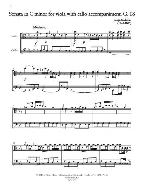 2 Sonatas for Viola with Cello accompaniment in C minor and C major, G. 17-18