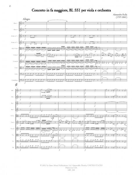 Concerto in fa maggiore, BI. 551 Viola e Orchestra (score/parts)