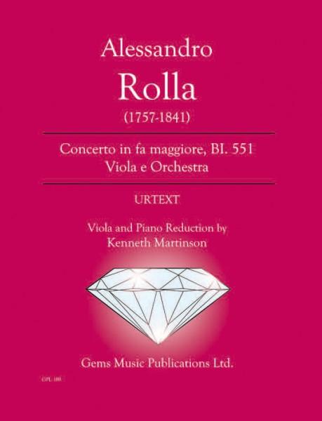 Concerto in fa maggiore, BI. 551 Viola e Orchestra (viola/piano reductions)