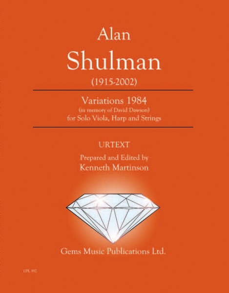Variations 1984 for Solo Viola, Harp and Strings (score/parts)