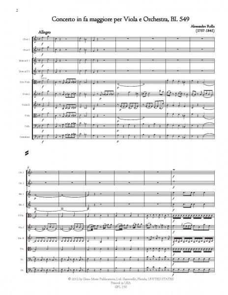 Concerto in fa maggiore, BI. 549 Viola e Orchestra (score/parts)