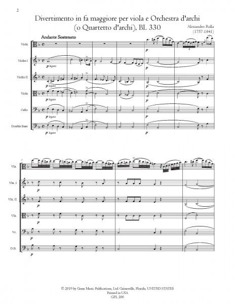 Divertimento in fa maggiore, BI. 330 Viola e Orchestra d\'archi (o Quartetto d\'archi) (score/parts)