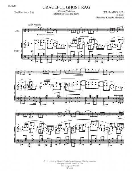 Graceful Ghost Rag- Concert variation adapted for viola and piano