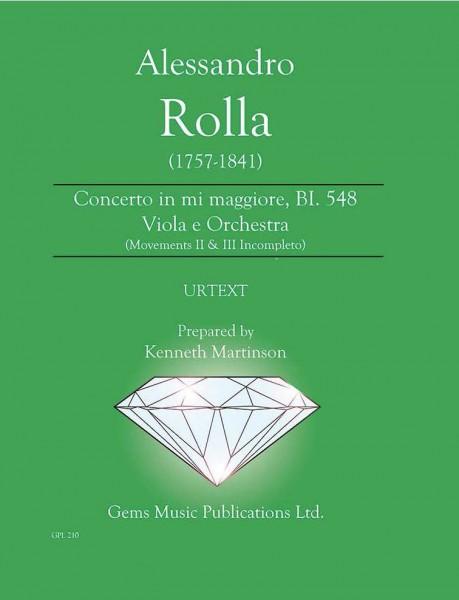 Concerto in mi maggiore, BI. 548 Viola e Orchestra (movements II & III incompleto) (score/parts)