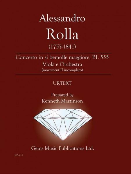 Concerto in si bemolle maggiore, BI. 555 Viola e Orchestra (movement II incompleto) (score/parts)