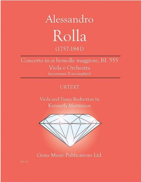 Concerto in si bemolle maggiore, BI. 555 Viola e Orchestra (movement II incompleto) (viola/piano reduction)