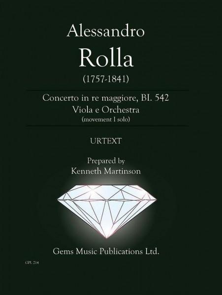 Concerto in re maggiore, BI. 542 Viola e Orchestra (movement I solo) (score/parts)