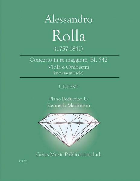 Concerto in re maggiore, BI. 542 Viola e Orchestra (movement I solo) (viola/piano reduction)