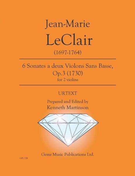 6 Sonates a 2 violons, Op. 3 no. 1-6 (for 2 violins)