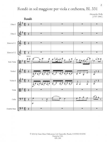 Rondo in sol maggiore, BI. 331 Viola e Orchestra (score/parts)