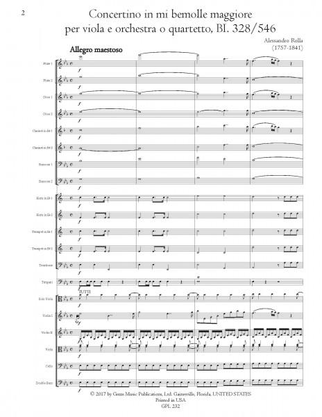 Concertino in mi bemolle maggiore, BI. 328/546 Viola e Orchestra (o Quartetto) (score/parts)