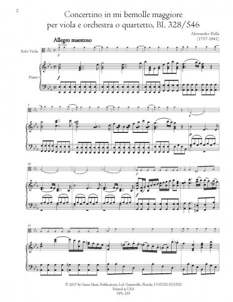 Concertino in mi bemolle maggiore, BI. 328/546 Viola e Orchestra (o Quartetto) (viola/piano reduction)