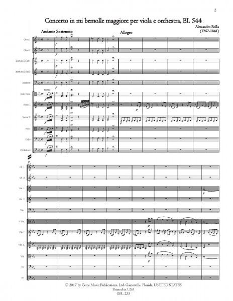 Concerto in mi bemolle maggiore, BI. 544 Viola e Orchestra (score/parts)