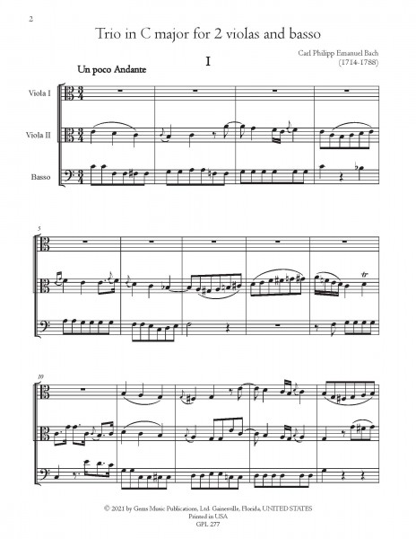 Trio in C major, HelB. 587 for 2 violas and bass