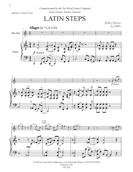Latin Steps for Alto Saxophone and Piano