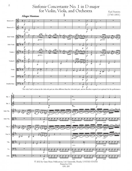 Sinfonia Concertante No. 1 in D major for violin, viola, and orchestra